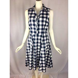 Maison Joules Blue & White Checkered Plaid Dress